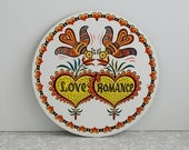 love & romance dutch hex sign, pennsylvania dutch hex sign, birds and hearts, souvenir barn sign, painted small love sign, red black yellow