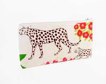 Zipper Pouch, Fabric Pouch, Leopard Pouch, Coin Purse, Change Pouch, Pouch, Gift for Her, Gift Under 20, Echino Canvas Leopard Pouch
