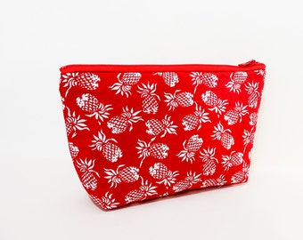 Pineapple Pencil Case, Zipper Pouch, Fabric Pouch, Medium Pouch, Pouch, Cosmetic Bag, Toiletry Bag, Zipper Case, Pineapple Pouch, Red Pouch