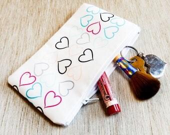 Heart Pouch, Heart Gift, Gift for Her, Teacher Gift, Grad Gift, Zipper Pouch, Pencil Case, Zipper Pouch, Coin Purse, Love Pouch, Pouch