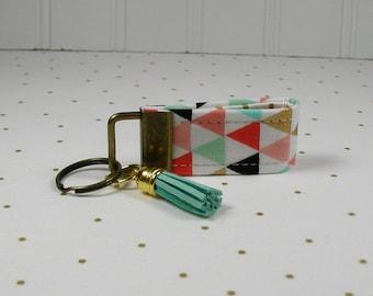 Mini Key Fob with Tassel, Mini Key Fob with Tassel, Triangle Key Fob, Mini Fabric Key Fob