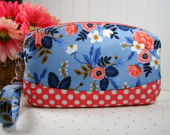 Clematis Clutch, Zipper Wristlet, Zipper Clutch .. Les Fleurs Birch Floral in Periwinkle, Rifle Paper Co