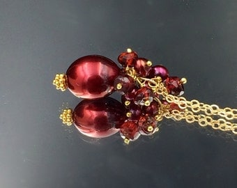 Garnet Red Baroque Pearl Necklace 14kt Gold Filled Necklace  Holiday Jewelry Red Pearl Choker Burgundy Pearl Pendant Gold F
