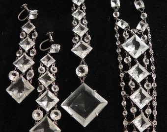 Vintage crystal and silver necklace and earrings
