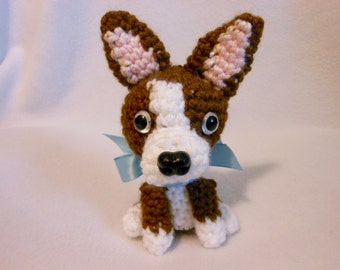 Boston Terrier Crochet Dog in Brown and White, Canine, Amigurumi, Stuffed Dog, Dog Lover