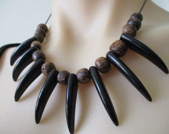 Black Tusk Claw Tooth Dagger Tribal Style Spike Necklace Tribe Jewelry Boho Bohemian Gypsy Black Brown Adjustable Statement Necklace Pendant