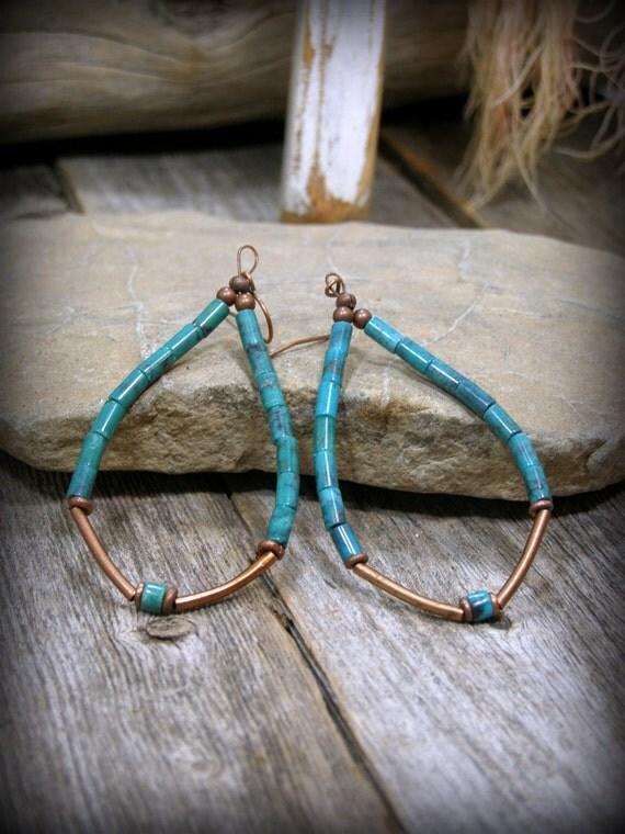 Turquoise Earrings, Hoop Earrings, Long Dangle Earrings, Southwestern Jewelry, Tribal Jewelry, Bohemian Earrings,  Boho Earrings