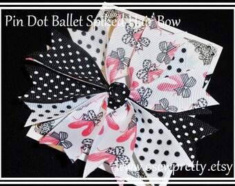 BALLET Hair Bows, Ballerina Hair Bows, Spiked Hair Bows, Pink Ballet hair bows, Dance hair bows, Girls hair accessory, Spiked Ballet Bows