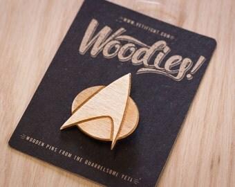 Star Trek TNG Communicator Badge - Laser Etched Wooden Pin