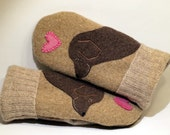 RESERVED FOR DONNA Wool Sweater Mittens Beige  and Brown Golden Retriever Applique and Leather Palm Eco Friendly Upcycled  Size M