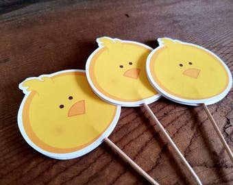 Farm Birthday Party - Set of 12 Chicken Cupcake Toppers by The Birthday House