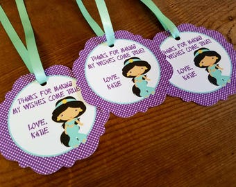 Jasmine Party - Set of 12 Personalized Favor Tags by The Birthday House