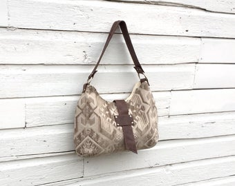 Large Slouch Purse, Shoulder Bag, Diaper Bag in Taupe Tribal Motif & Leather