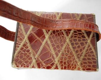Vintage Handbag, Box Style, Alligator, Strap, Mirror, Inside Pocket, Snap Closure,Harlequin Quilted Design