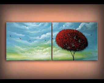 Blue sky red tree art original painting tree painting original art abstract painting surreal painting acrylic painting  16 x 40