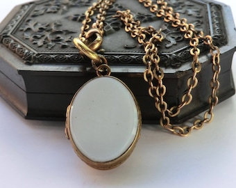 Edwardian Era Oval Locket Watch Chain Necklace Opaque White Glass Front and Back Locket