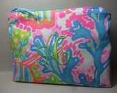 Lilly Pulitzer Fabric Lovers Coral  Monogrammed Preppy Cosmetic Bag/Holiday Gift/Preppy/Sorority/Southern