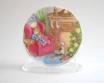Hallmark Mini Plate Vintage 1988 Waiting For Santa Christmas Ornament Christmas Decor Porcelain Plate Display Plate Box Included Hallmark