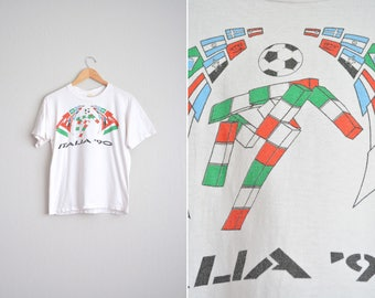 Size S/M // Italia FIFA '90 WORLD CUP T-Shirt // White - Short Sleeve - Soccer - Vintage '90s.