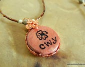 Reserved for Shelly---Cherokee Rose Cedar Pendant, Cherokee Language, Handcrafted Jewelry, Corn Bead Pendant, Native Style, Gifts for Her