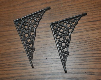 """Pair Antique Cast Iron Shelf Brackets Small Size 4 3/4"""" by 3 3/4"""""""