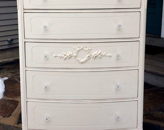 Vintage Thomasville French Provincial dresser restored with rose garlands and wreaths