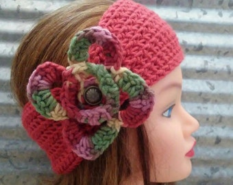Ear Warmer Head Wrap in Coral with flower