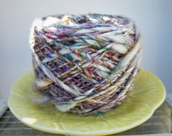 Handspun Rustic Art Yarn Abalone by Wildling Art