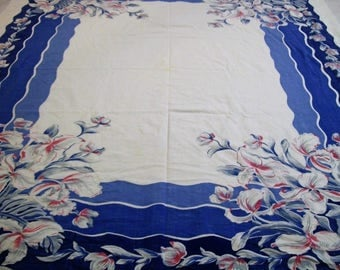 Vintage Tablecloth, Tablecloth with Pink and Blue Flowers, Blue Pink White, OldTablecloth, Table Linens, Vintage Linens, 1950s