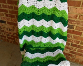 Crochet Afghan, Green and White Chevron Afghan, St Patrick's Day Afghan, Crochet Lap Throw,