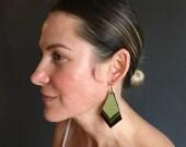 Green leather layered chevron earrings