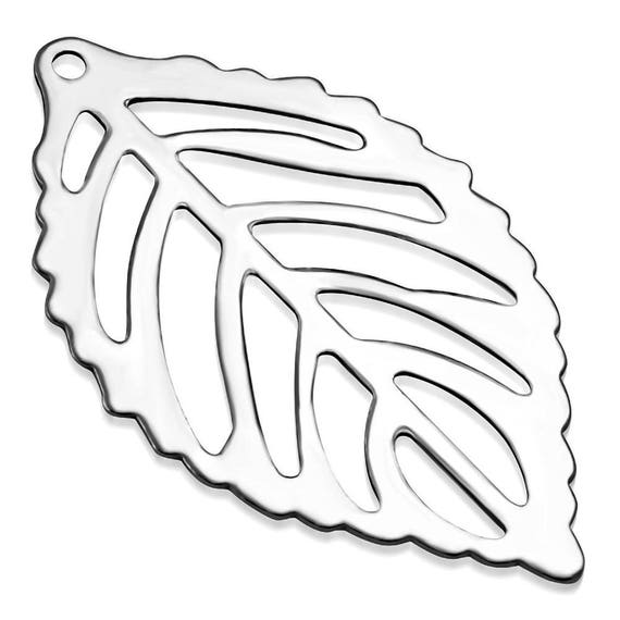 6 Tiny Cut Out Leaf Charms - 2.30 x 1.40cm (0.90 x 0.55 inch)  Stainless Steel - 316L SURGICAL STEEL