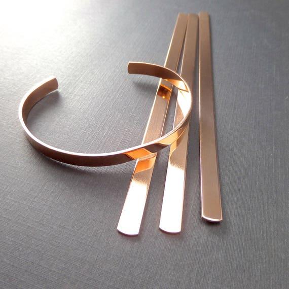 "3 Cuffs - 1/4"" x 6"" Jeweler's Brass or Copper Bracelet Blank Cuffs 18 Gauge Tumble Polished or Raw Bracelet Blank Cuffs - 3 Cuffs - Flat"