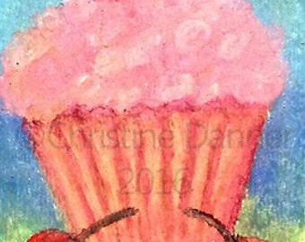 Original Art Pink Cupcake with Cherries ACEO Painting