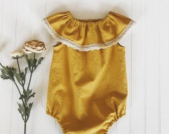 Baby linen romper, neck ruffle linen romper, boho style romper, linen mustard romper, girls boho style romper, girls linen plays, honey