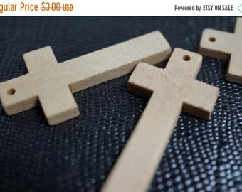 MARCH SALE SALE - Natural Wooden Cross Pendants - Natural Color - 6 pcs