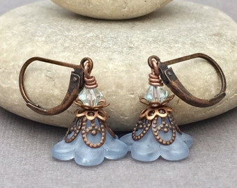 TERRA... Vintage style earrings with copper, crystals, and blue flower beads