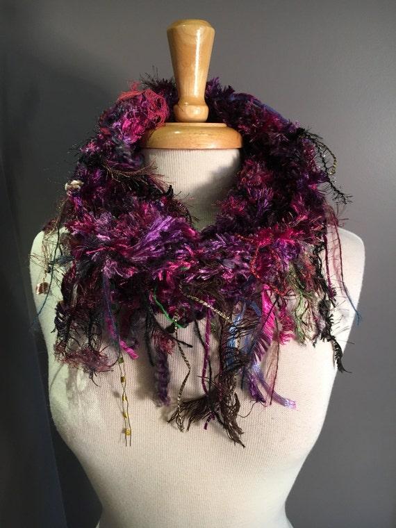 Handmade Shag Cowl, Knit Shaggy Fringed Cowl, Neckwarmer,  art scarf, fringed cowl, purple green scarf, boho, fringe fashion, tribal, women