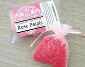 Rose Petals Sachets, Aroma beads, set of 2 highly fragranced organza bag sachets, scented sachet