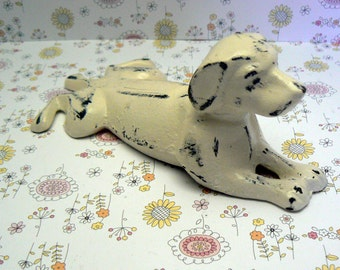 Dog Door Stop Cast Iron Shabby Elegance Creamy Off White Cream Dachshund Doggie Doorstop Prop Puppy Animal Canine Figurine Vet Groomers
