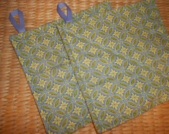 Potholder Set of 2 ~ Art Nouveau Pot Holders ~ Blue & Green ~ Hotpad Set
