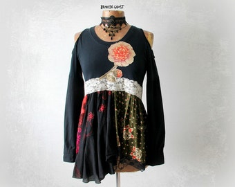 Black Babydoll Boho Clothing Off Shoulder Top Flower Applique Gypsy Clothes Fit Flare Bohemian Shirt Romantic Long Sleeve Top S M 'CASSIDY'