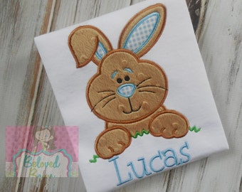 Boys Easter Bunny Appliqued Shirt or Bodysuit for Boy---Personalized--Easter Shirt