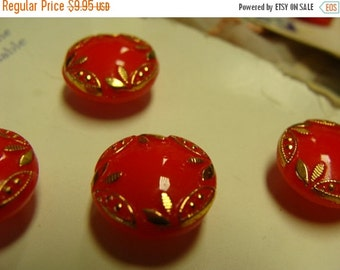 ON SALE Antique Imported Moonstone Cherry Red and Gold Button card Made in Western Germany