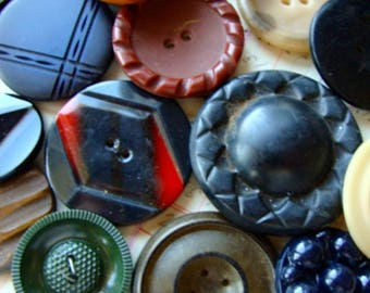 24 Antique and Vintage Large Buttons Mixed Vintage Buttons Lot 137