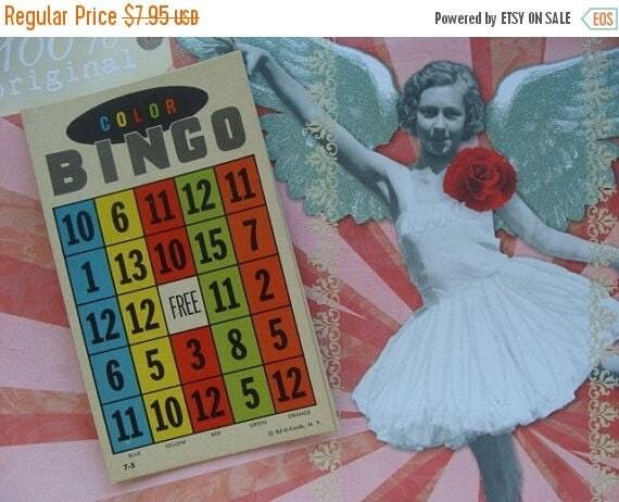 ONSALE Rare Antique 1952 Beautiful Color Bingo cards