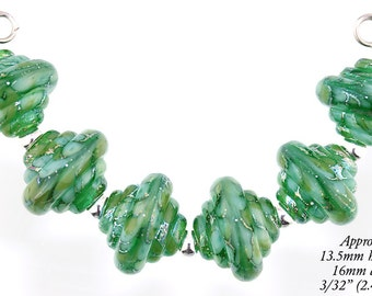 Lampwork Bead Set, 6 Gorgeous Autumn Green and Silver Foil Murano Glass Baroque lampwork beads, Made to Order, Bims Bangles, glass beads