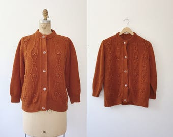 vintage cardigan / beaded sweater / Rust Lily Sweater