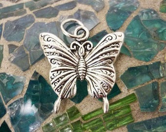 Silver Butterfly charm Pendant-Ornate Butterfly Charm Pendant