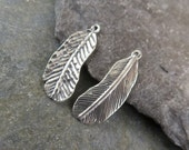 Sterling Silver Rustic Feather Charm or Petite Pendant - One Piece - cpprf